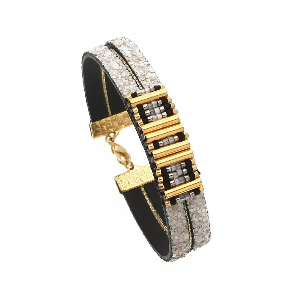 Bracelet cuir paillettes gris. perles miyuki Suzanne